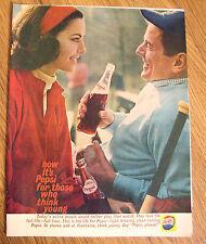1961 Pepsi Cola Soda Ad  Couple Softball Theme