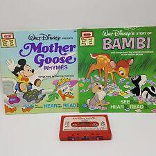 Bambi Mother Goose Disney Cassette Storyteller Read Along 2 Books Lot Take 1970s