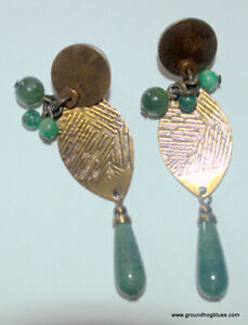 Handcrafted Bronze and Jade Dangling Large Earrings NWOT