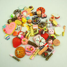 50pcs Kawaii Resin Food Heart Cookie Bread Artificial Cake Cabochons Cameo Molds