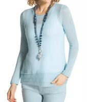 Chico's Womens Tina Featherweight Pullover Sweater Chiffon Trim Light Blue M