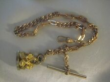 ANTIQUE POCKET WATCH CHAIN WITH T-BAR WAX SEALER FOB AND SWIVEL