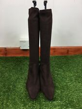 M&S Size 4.5 UK Brown Faux Suede Knee Length Boots Stretchy
