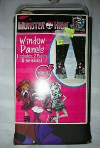 Mattel Monster High Window Panels - Curtains -  Drapes MU492K Black Microfiber