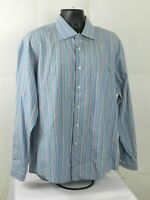 Pronto Uomo Mens Long Sleeve Button Down Blue Striped Dress Shirt Size XL