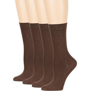 Women's Bamboo 4 Pack Solid Thin Dress Business Crew Socks Medium 9-11 Brown