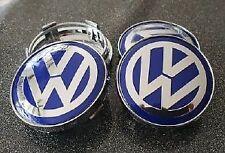 4 Cache Moyeu Centre de Roue Wolkswagen 60mm Bleu/Blanc Jantes Logo Emblème