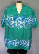 Kalena Fashions of Hawaii Green 3XL Aloha Hawaiian Shirt Hibiscus Polyester