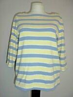 CROFT & BARROW Stretchy Yellow/Gray Striped Boat Neck 3/4 Sleeve Knit Top Sz M
