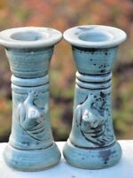 Celadon Green ceramic candle holders w/ 3-D frogs Made in Indonesia UNUSED