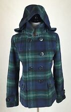 American Eagle Outfitters Women's Size Medium Green Blue Plaid Winter Coat Hood