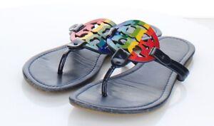 17-20 $198 Women's Sz 8 M Tory Burch Miller Leather Logo Flat Sandals