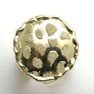 Vintage 14k yellow gold Circle domed ring diamond cut Vintage Cocktail Ring