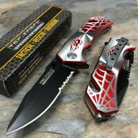 Tac Force Spring Assisted Silver/Red Spider Collector Fantasy Pocket Knife