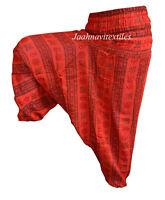 INDIAN BAGGY GYPSY HAREM PANTS YOGA MEN WOMEN RED OM PRINT DANCE TROUSERS