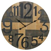 72cm Extra Large Round Wooden Wall Clock Modern Retro Contemporary Distressed
