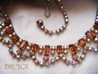 VINTAGE 1950s Aurora Borealis Rhinestone  Baguette Topaz Crystal Swag NECKLACE