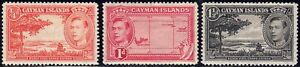 1938-43 Cayman Island SC# 100-103 - Map of the Island - 3 Different Stamps- M-HR