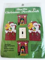 1978 Bucilla Felt Holiday Switch Plate Covers Kit Santa's Fireplace 3408 Set 4