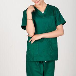 1PC Women Men Hospital Nursing Clinic Scrub Set Uniform Unisex Tops & Pants
