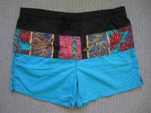 Vintage St Johns Bay Nylon Swim Trunks Blue Floral Block Print Mens Large