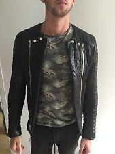 Balmain Homme Biker Leather Jacket Size M 48