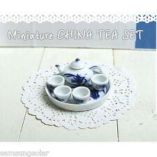 Doll House Deluxe Miniature China Coffee Tea Set Porcelain Dollhouse Miniatures