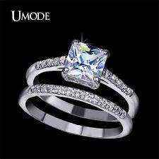 Engagement Ring Two Band 1.6 Carat Princess Cut Zirconia  Engagement Ring LOOK
