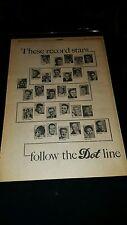 Dot Records Rare Original 1958 Promo Poster Ad Framed!