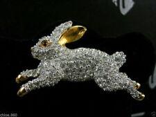 SIGNED CRYSTAL SWAROVSKI RABBIT PIN~ BROOCH 22KT GOLD PLATED RETIRED NEW