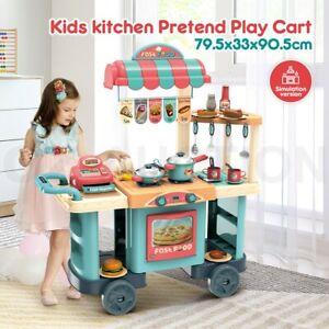 Kids Toy Kitchen Set Children Toddler Kitchen Dinner Food Cooking Pretend Play