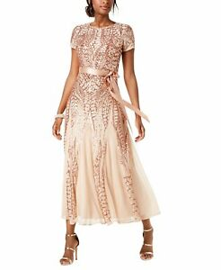 R&M Richards Women's Short Sleeve Sequin-Embellished Pleated Gown