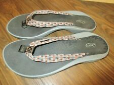 CHACO ~GRAY PINK~ CHECKERED THONG FLIP FLOP Sport ECO Sandals Shoes W 8 Worn 1 x
