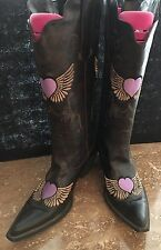 Roper~Womens Cowboy Boots~Brown Pointy Toe Faux Leather Embroidery Purple heart