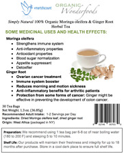 Simply Natural 100% Organic Moringa oleifera Ginger Root Herbal Tea 30 Tea Bag