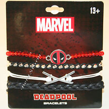 NEW Marvel Deadpool Disk Charm 4 PK Bracelet Set Cord Beads Red Black Silver