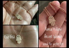 "Sparkle Rose Gold Laser Cut Spiritual Sm. Hamsa Crystal CZ Hand Necklace 18"""