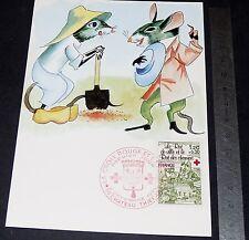 CARTE POSTALE 1er JOUR PHILATELIE 1978 FABLE LA FONTAINE RAT VILLES RAT CHAMPS
