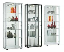 Large 2 Door Mirrored Selby Display Cabinet With Light/4 Glass Shelves/4 Colours
