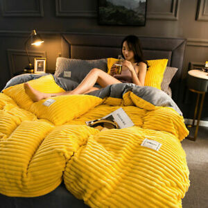 4PCS Soft Two-tone Flannel Duvet Cover Bedding Set with 2 Pillowcase Double/King