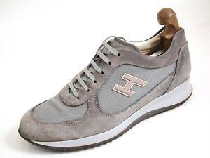 Hogan Sneakers Gray Suede Canvas Men Size US 9.5 EU 42.5