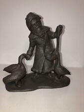 Old Man (Santa) Feeding Geese Ceramic Statue Figurine