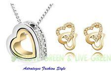 Set Halskette mit Doppel-Herzanhänger,18kverweissgoldet, passende Ohrstecker