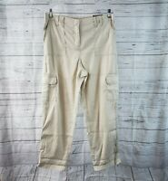 Chicos Womens Casual Cargo Crop Pants Sz 2 US 12 Linen Blend Ultimate Fit Tan