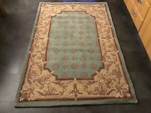 CHINESE SAVONNERIE, 6' x 4', LIGHT GREEN, NEW,  AUTHENTIC RUG, THICK...FREE DEL.