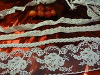 lot=scrabooking?? créations?? 6m,40  ,dentelles ,galons  ,tresses cotons  blanc