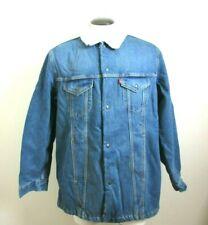 Levi's Mens Long Denim Sherpa Fleece Lined Trucker Jacket Blue Snap Front NWT