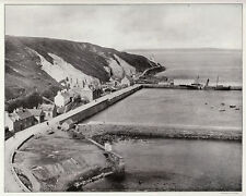 Scrabster harbour Nr. Thurso RARE 1907 antique ready mount photo view SUPERB