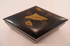Antique Japanese Lacquer & Wood Box Flowers Japan