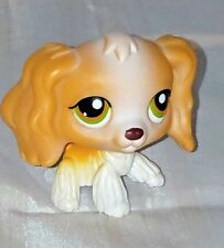 Littlest Pet Shop #79 Tan & White Cocker Spaniel Puppy Dog With Green Brown Eyes
